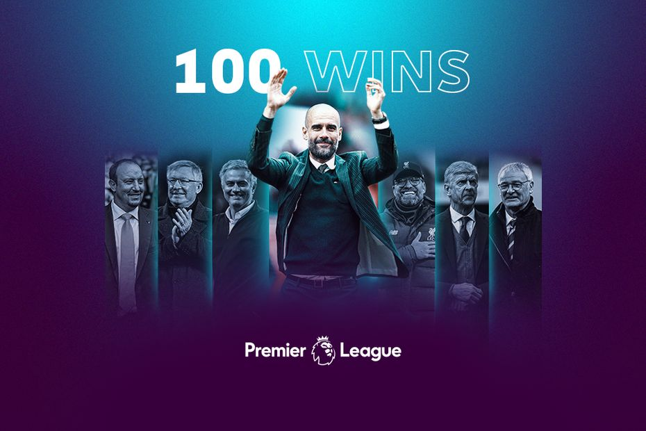 A graphic showing Pep Guardiola reaching 100 wins in the Premier League