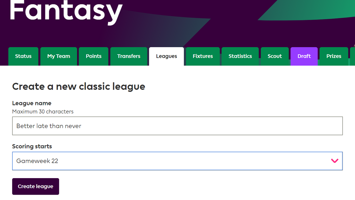 How to set up an FPL mini-league in Gameweek 22