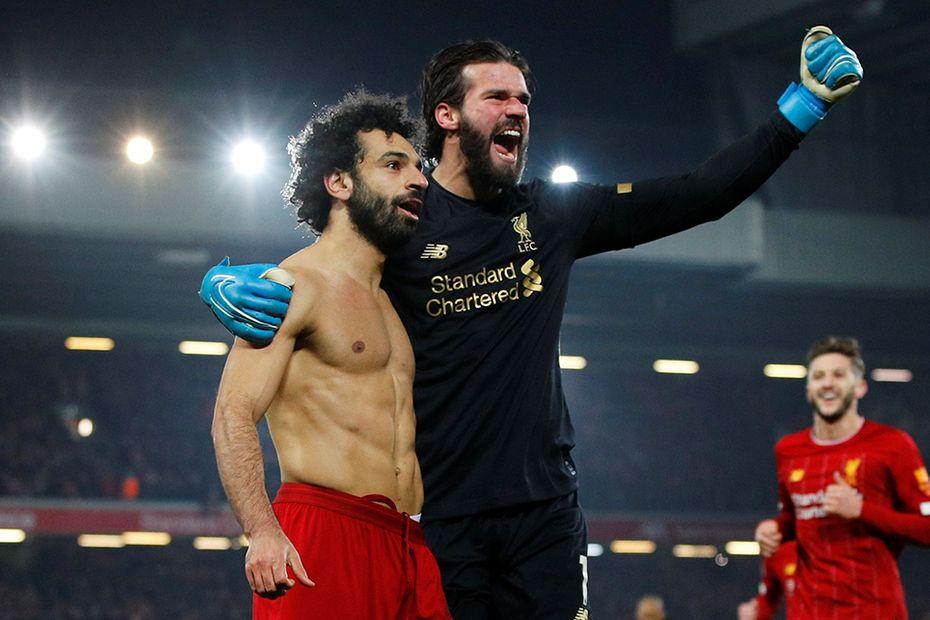 Mohamed Salah and Alisson, Liverpool v Man Utd