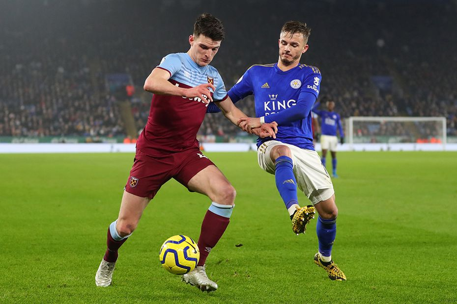 Declan Rice and James Maddison, Leicester City v West Ham
