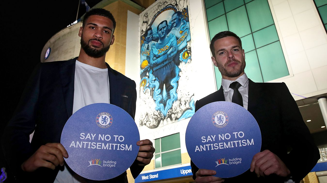 Ruben Loftus-Cheek and Cesar Azpilicueta, Holocaust Memorial Day Chelsea mural