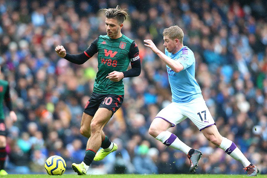 Jack Grealish and Kevin De Bruyne, Man City v Aston Villa