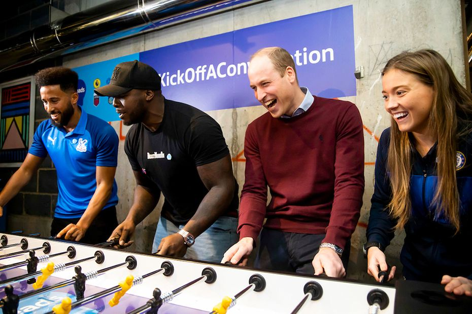 Heads Up HRH Duke of Cambridge playing foosball with Andros Townsend, Akinfenwa and Fran Kirby