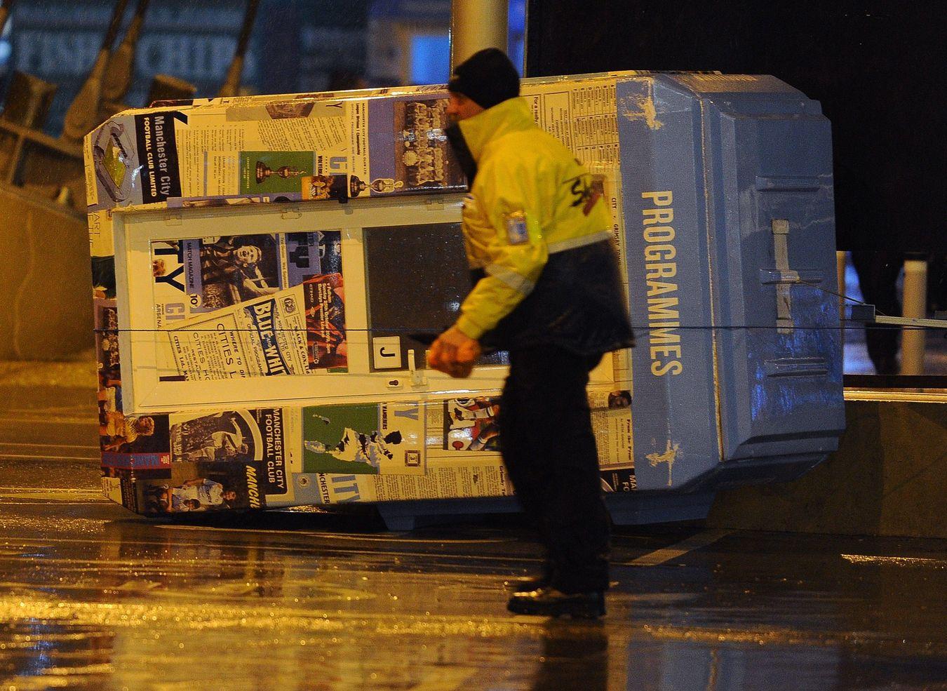 Man City v Sunderland 2014 postponement; blown-over programme seller's booth