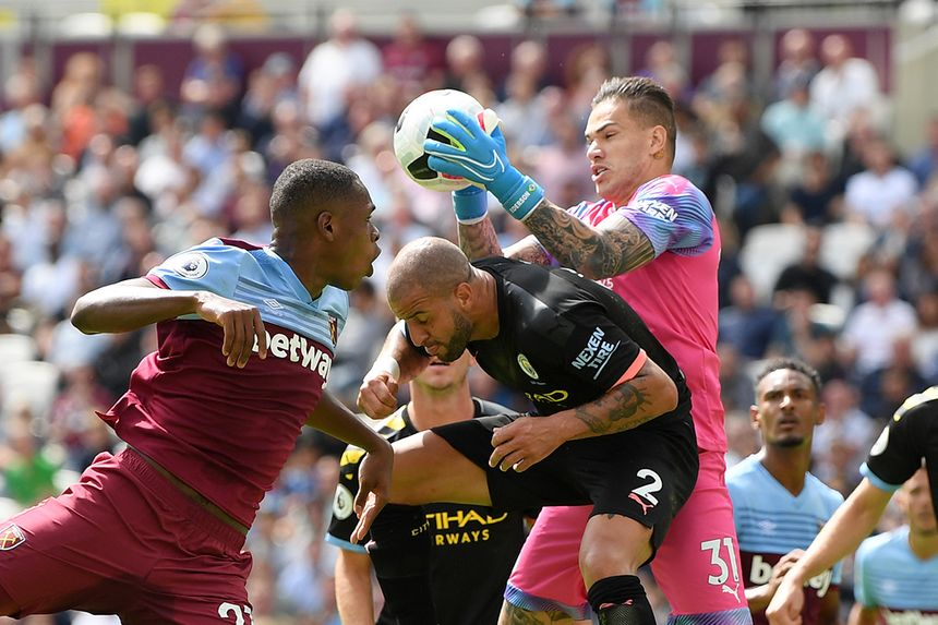 Ederson claims ball, West Ham v Man City