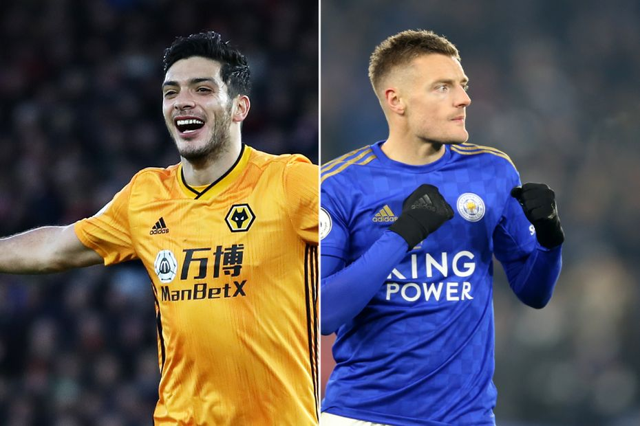 Wolves' Raul Jimenez and Leicester's Jamie Vardy
