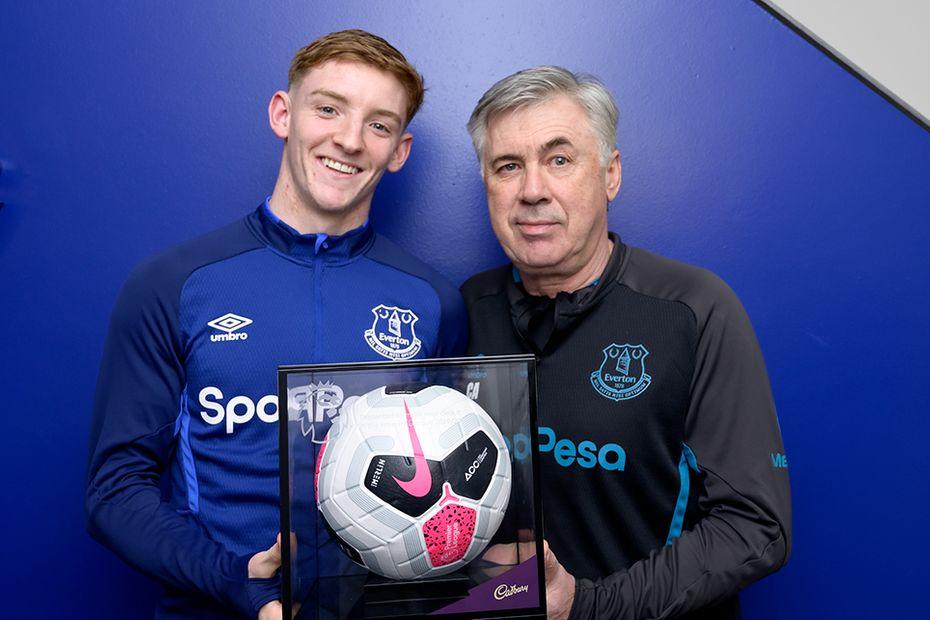 Anthony Gordon receives his Premier League Debut Ball