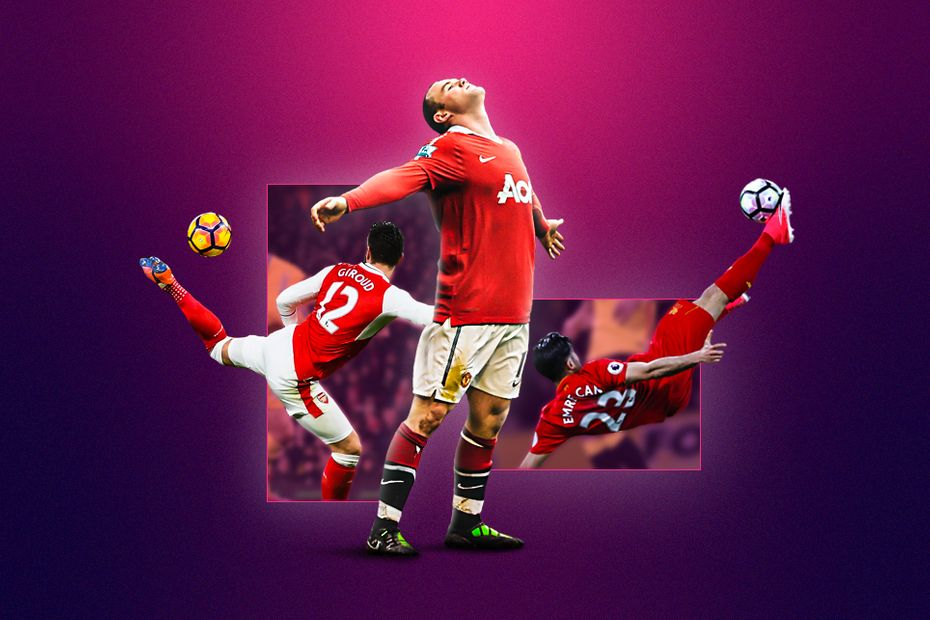 Best acrobatic goals graphic: Rooney, Giroud, Can