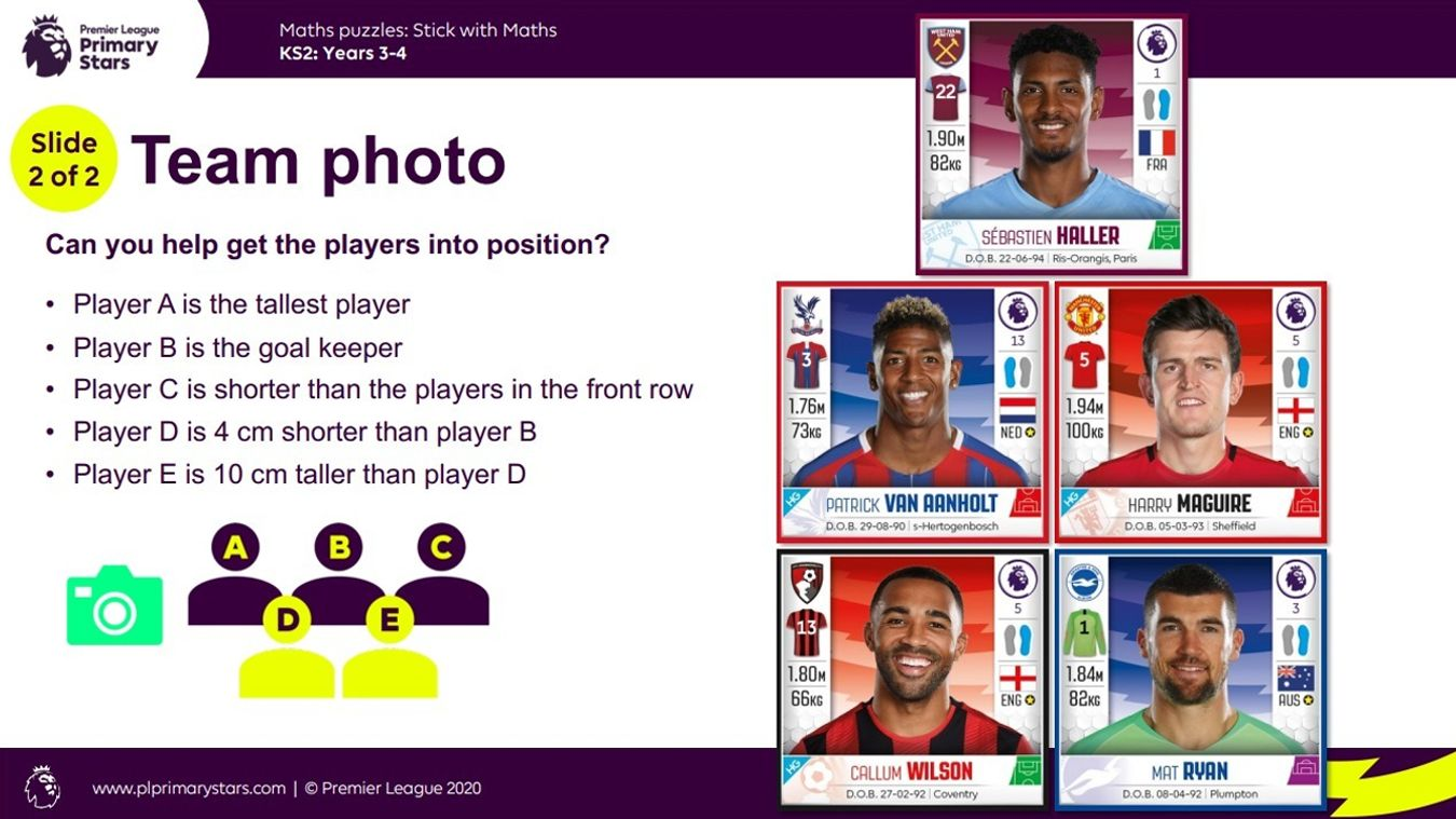 Premier League Primary Stars: Friday Family Challenge - Maths puzzle