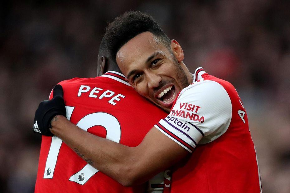 Nicolas Pepe and Pierre-Emerick Aubameyang, Arsenal