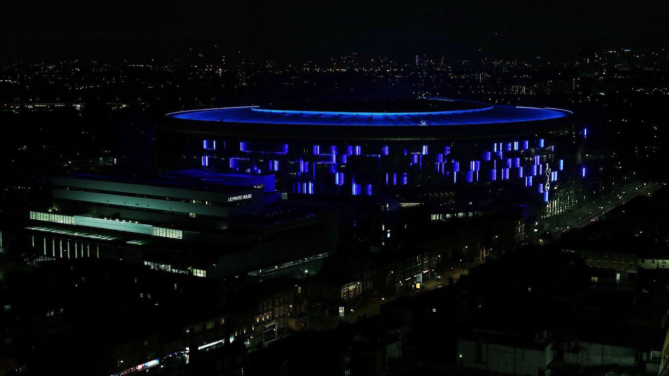 Tottenham Hotspur Stadium illuminated blue for NHS 72nd birthday