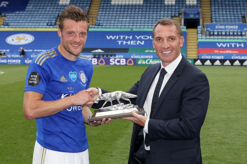 Jamie Vardy LEI 100 goals award Rodgers