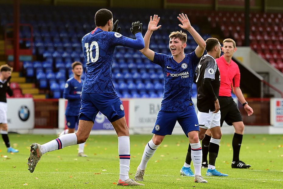 Billy Gilmour celebrates a Chelsea team-mate's goal in PL2