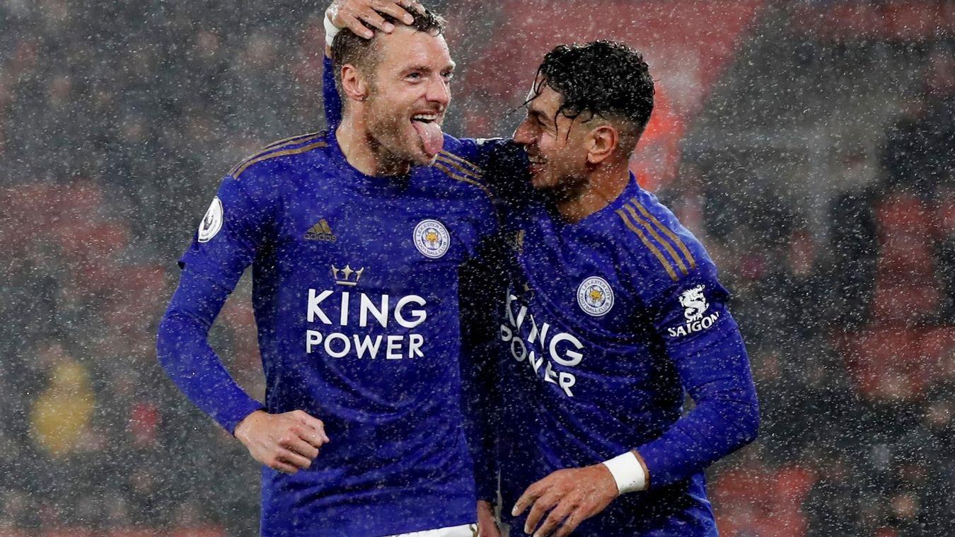 Jamie Vardy and Ayoze Perez, Leicester City celebration in 2019/20