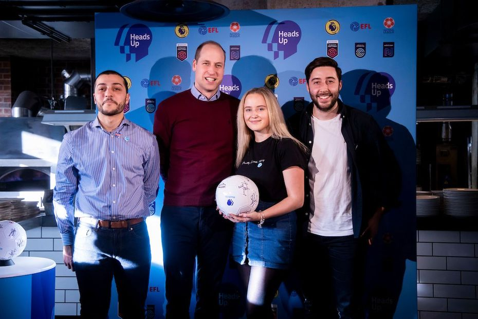 Burnley student Beth with the Duke of Cambridge at a Heads Up event