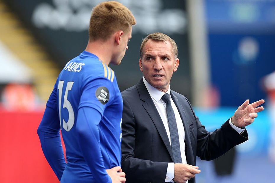 Brendan Rodgers and Harvey Barnes, Leicester
