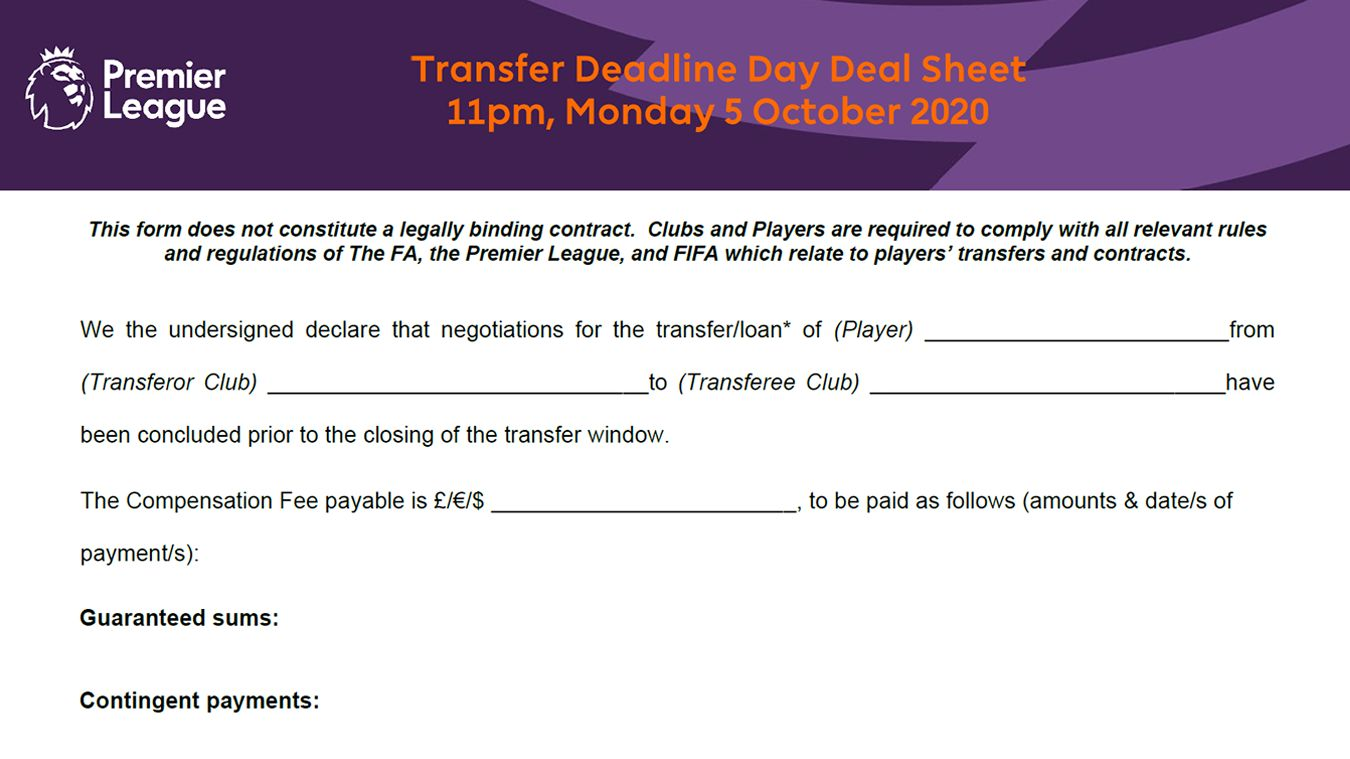 An example of a Transfer Deadline Day Deal Sheet