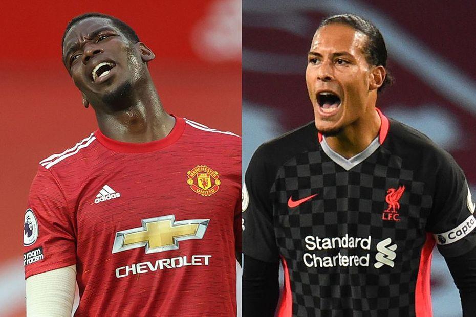 Paul Pogba, Manchester United, and Virgil van Dijk, Liverpool