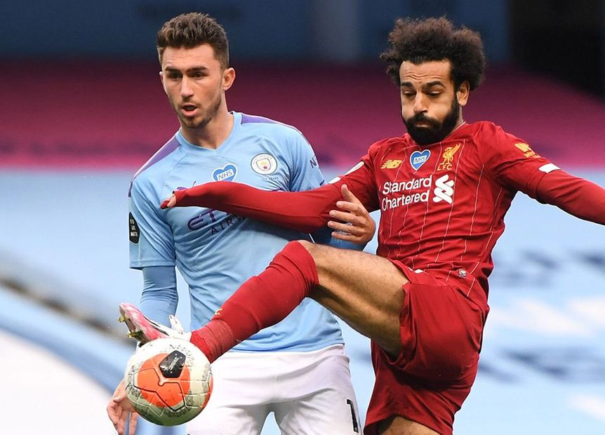 Mohamed Salah, Liverpool, and Aymeric Laporte, Manchester City