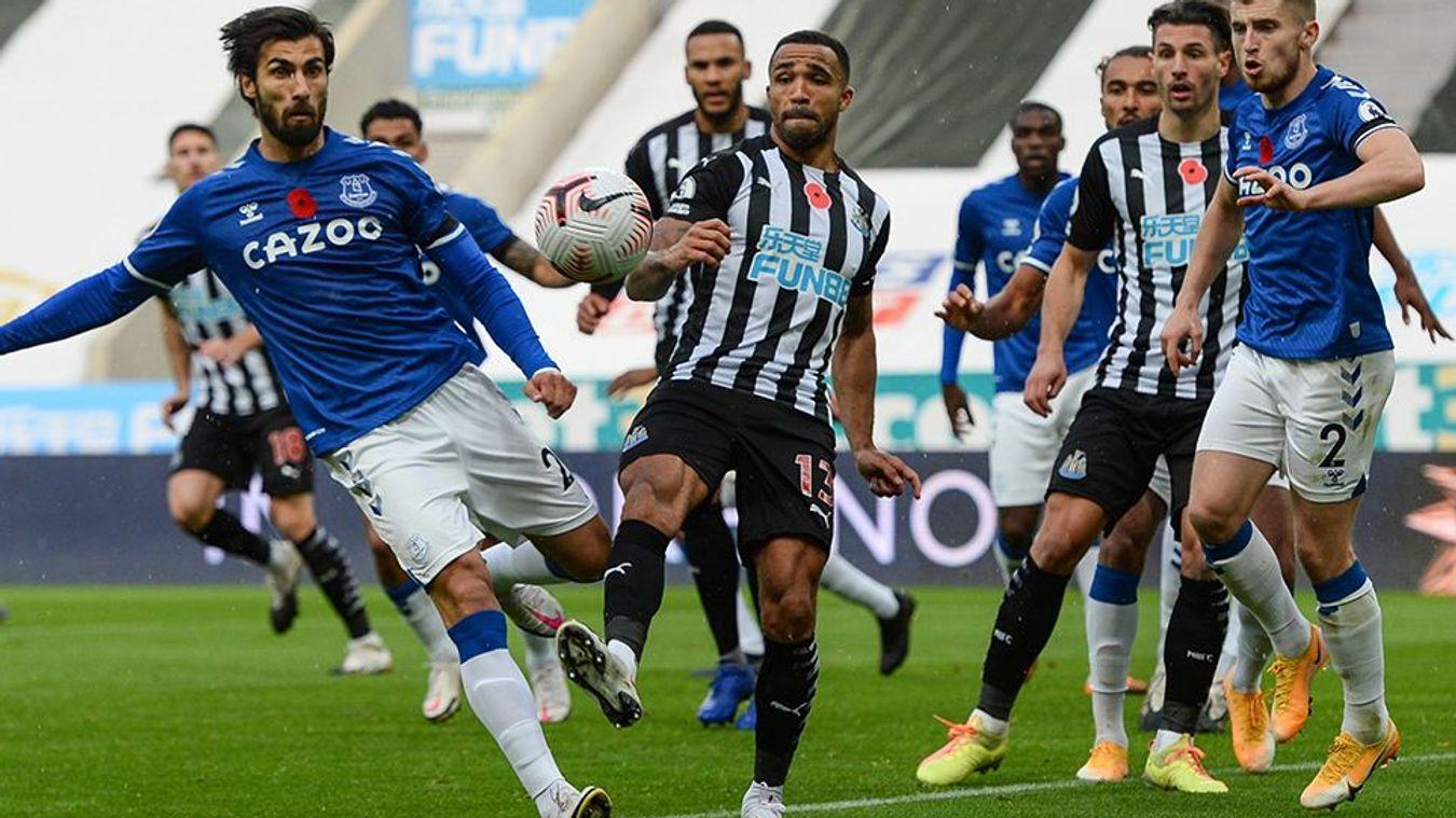 Andre Gomes of Everton and Newcastle's Callum Wilson