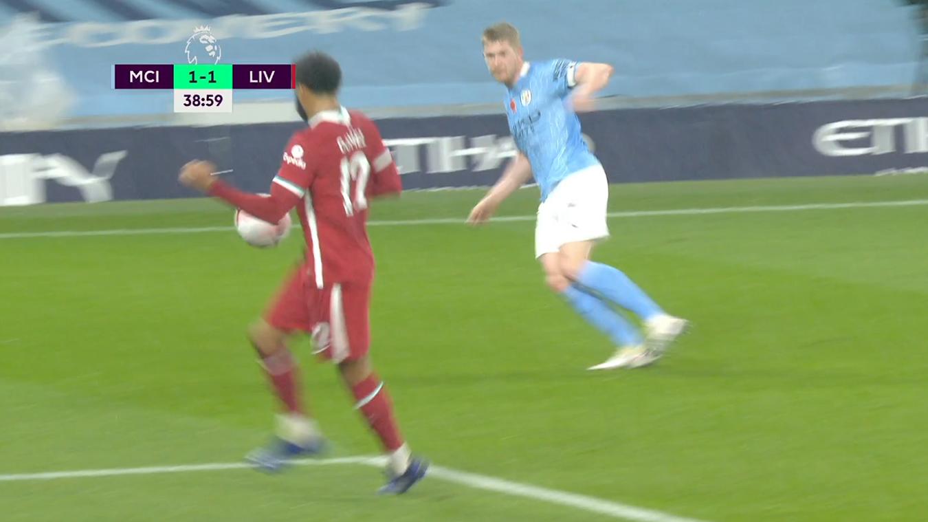 Joe Gomez handles a Kevin De Bruyne cross in the penalty area