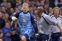 Iconic Moment: Goalkeeper Schmeichel scores for Villa