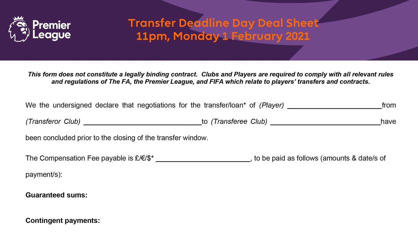 Deadline Day Deal Sheet,  1 February 2021