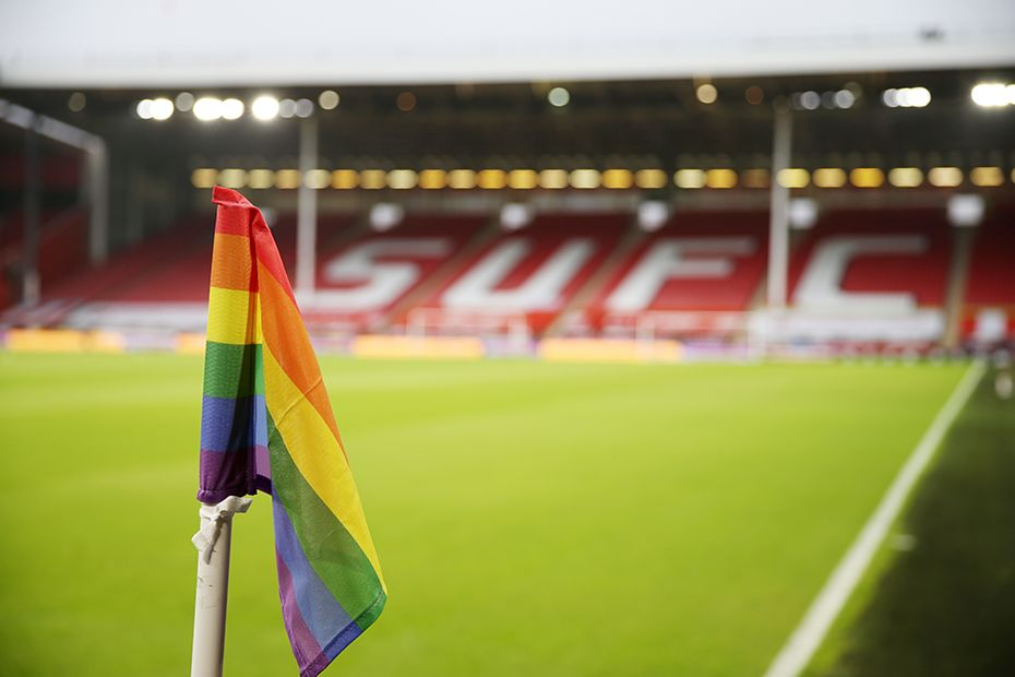 A corner flag for the Rainbow Laces campaign at Sheffield United