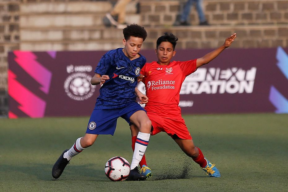 Chelsea playing against the Reliance Foundation Young Champs at the NextGen Cup in 2020