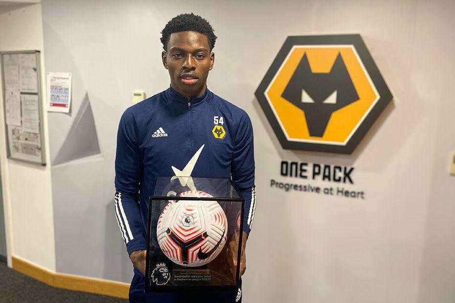Wolves' Owen Otasowie with his Premier League Debut Ball