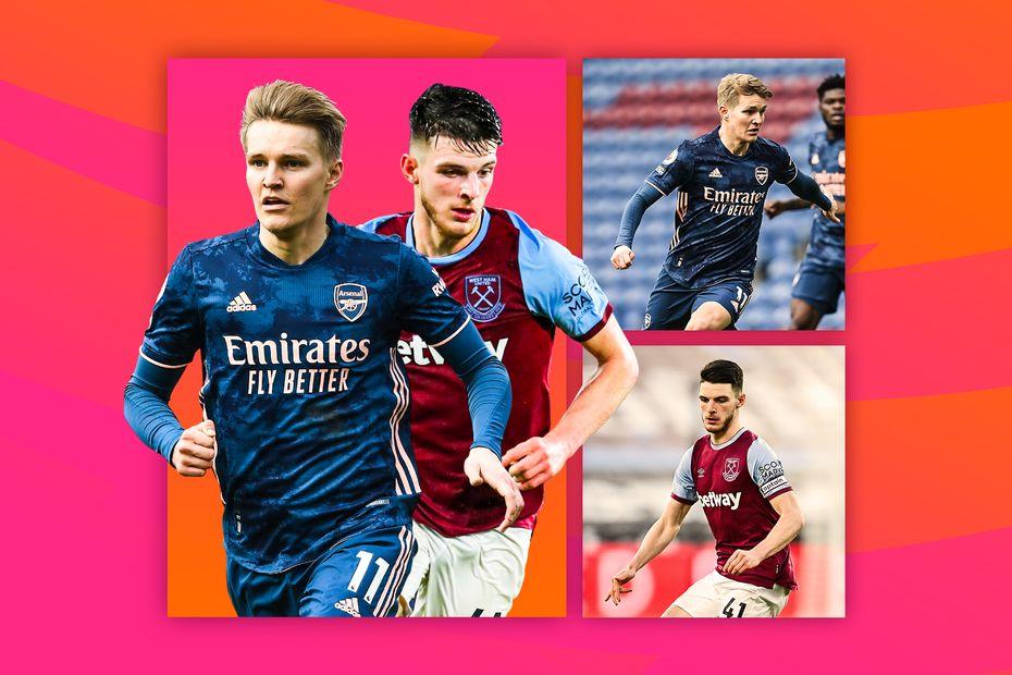 Martin Odegaard, Arsenal, and Declan Rice, West Ham