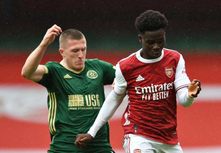 Saka, Lundstram Arsenal v Sheff Utd