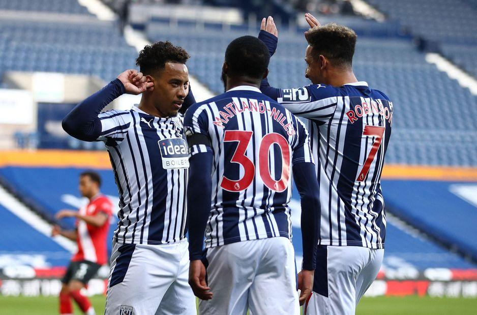 Matheus Pereira and his team-mates celebrate his goal v Southampton