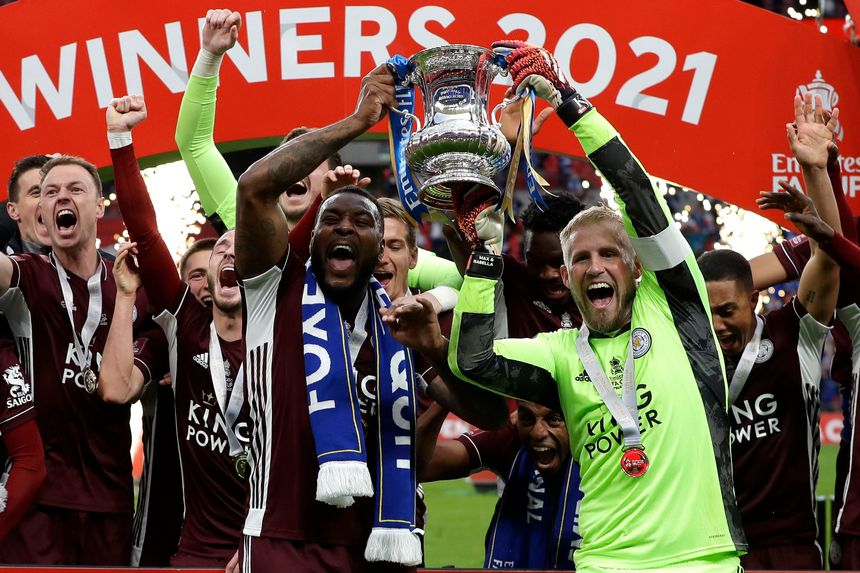 Wes Morgan and Kasper Schmeichel, Leicester City, FA Cup