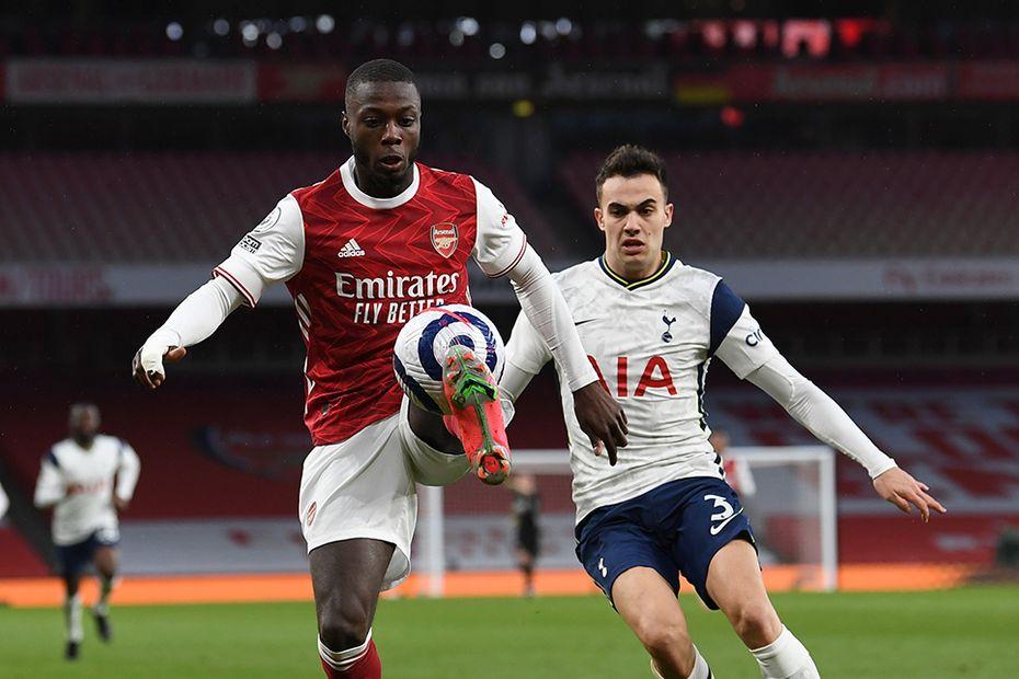 Arsenal's Nicolas Pepe and Spurs' Sergio Reguilon