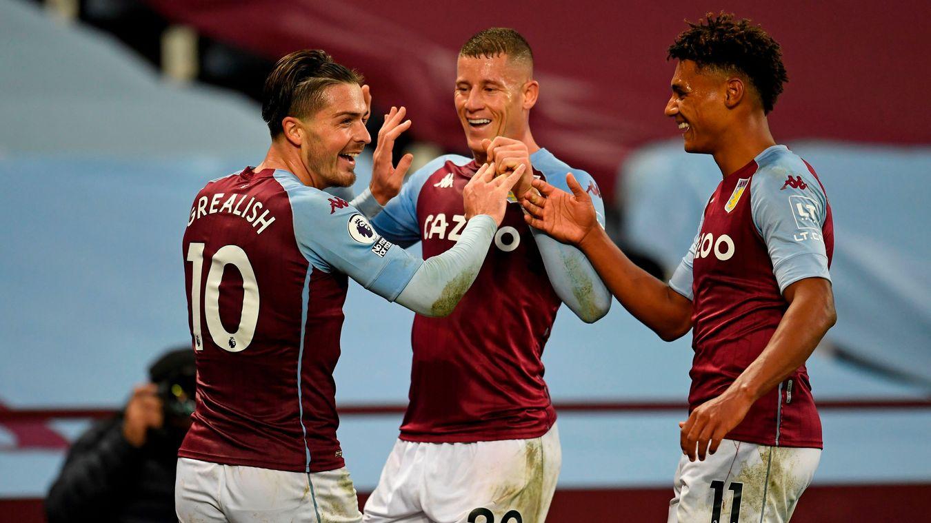 Jack Grealish, Ross Barkley and Ollie Watkins, Aston Villa celebration in 2020/21