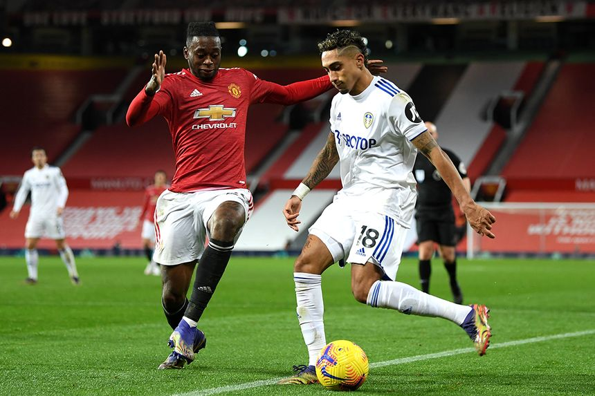 Aaron Wan-Bissaka and Raphinha, Man Utd v Leeds