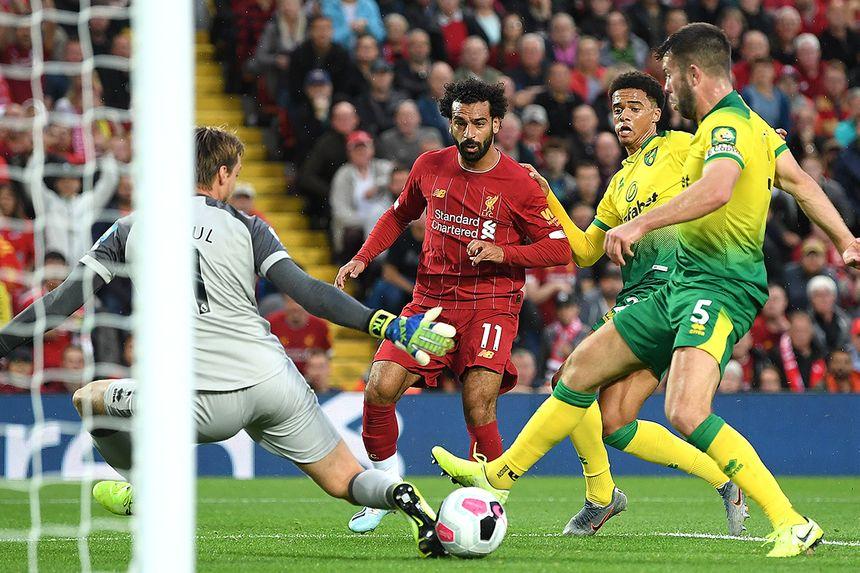 Mohamed Salah scores against Norwich in 2019/20