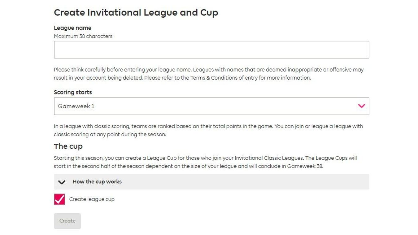 How to set up a league cup