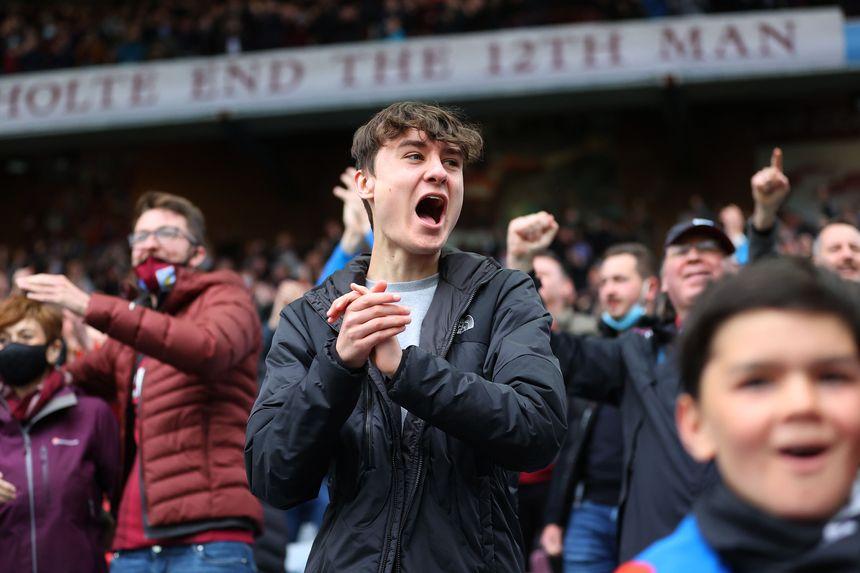 A fan celebrates