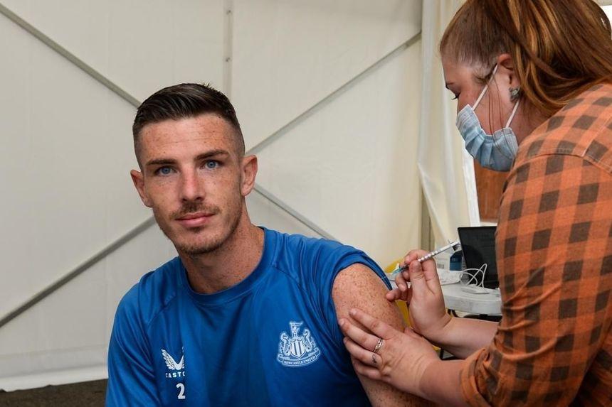 Ciaran Clark receives a vaccine