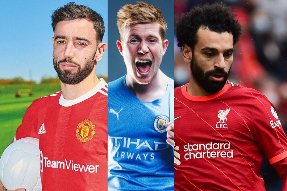 Bruno Fernandes, Kevin De Bruyne and Mohamed Salah