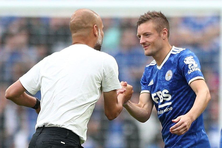Pep Guardiola and Jamie Vardy