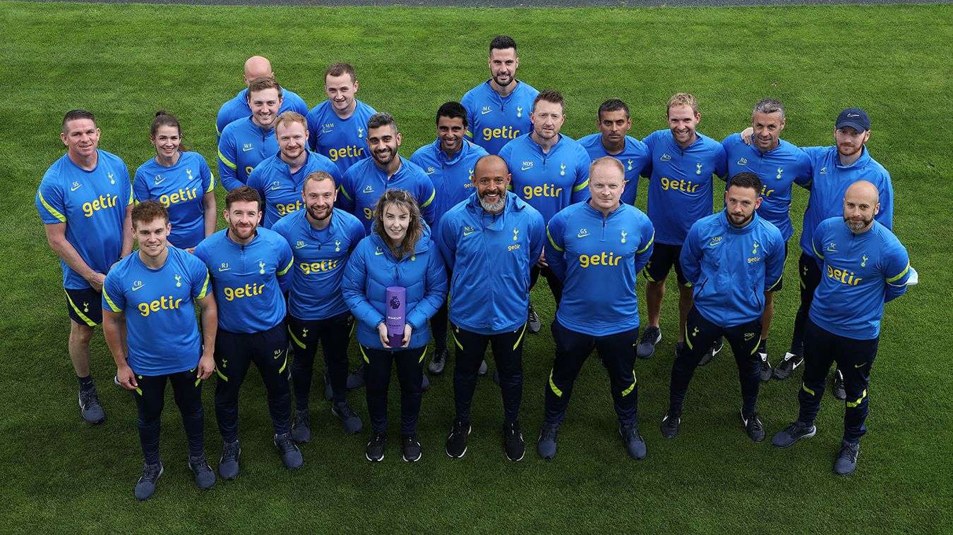 Nuno Espirito Santo with his backroom staff and the Barclays Manager of the Month award