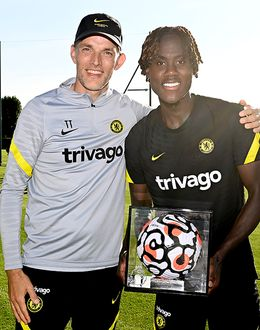 Thomas Tuchel presents Trevoh Chalobah with his Premier League Debut Ball