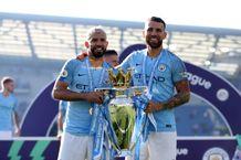 Brighton & Hove Albion v Manchester City - Sergio Aguero and Nicolas Otamendi