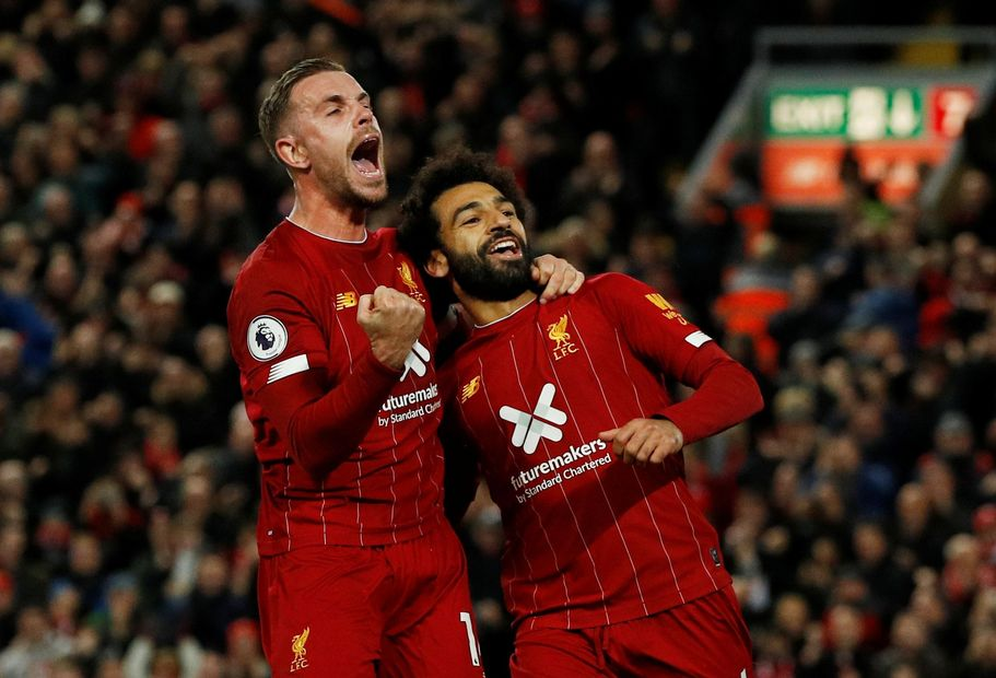Jordan Henderson and Mohamed Salah, Liverpool
