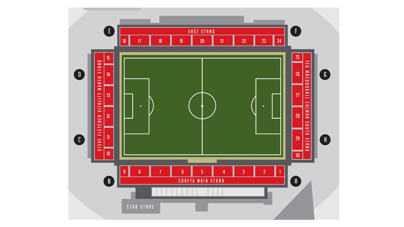 Vitality Stadium map