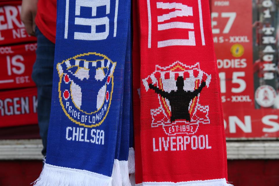 Chelsea and Liverpool scarves