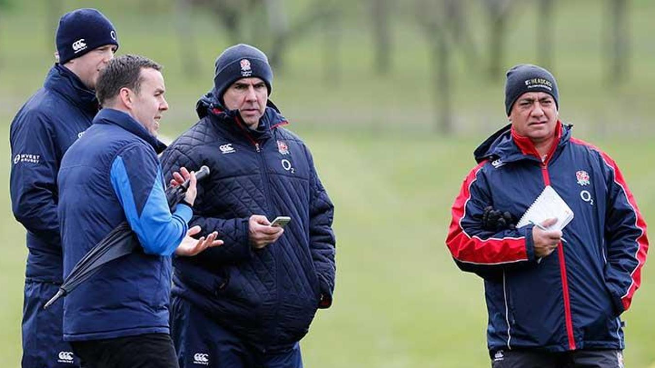 The Premier League's James Bunce, second left, explaining the tournament to RFU coaches